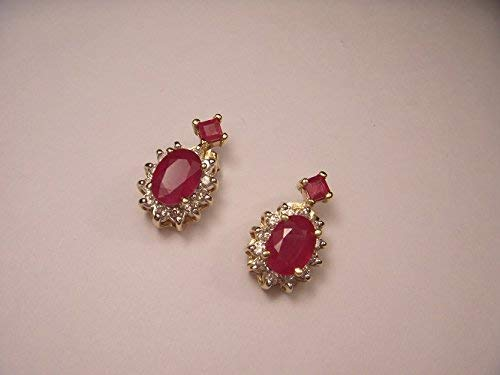 Gorgeous Estate 14K Yellow Gold Diamond Ruby Filigree Earrings