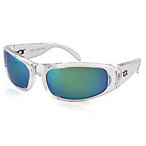 Clear Lake Manatee Mens Sport Polarized Sunglasses (Clear, Smoked Polarized w/ Green Mirror)