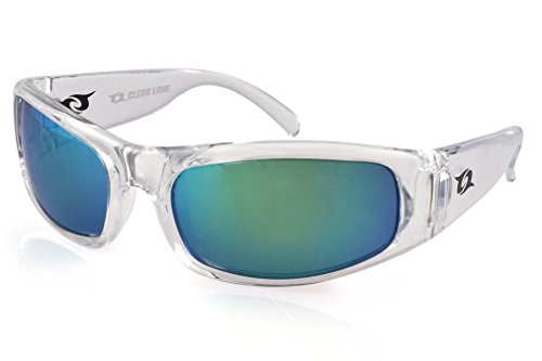 Clear Lake Manatee Mens Sport Polarized Sunglasses (Clear, Smoked Polarized w/ Green - Youth Costa Sunglasses