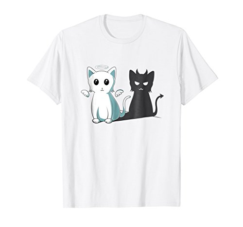 (Purr Evil Devil Cat T-Shirt Halloween Cat Angel Devil Shirt)