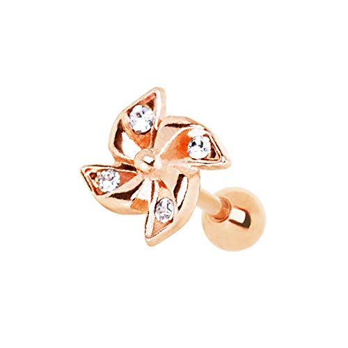 Blue Palm Jewelry 16 Gauge 1/4 Inch Rose Gold Plated Adorned Pinwheel Cartilage Helix Cuff 316L Surgical Steel Barbell A173