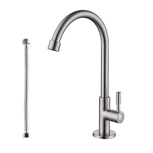 Drinking Traditional Water (KES Lead-Free Kitchen Sink Faucet For Cold Water Only Single Handle Bar Modern Replacement Tap, Brushed Nickel, K8001A1LF-2)