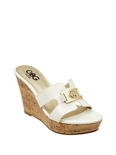 G by GUESS Women's Masy Faux-Leather Logo Wedges White