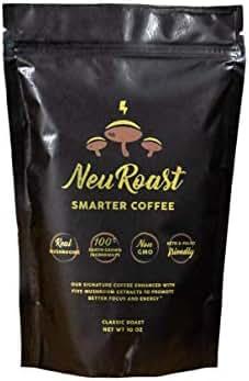 NeuRoast Classic Roast Mushroom Coffee | Best Tasting Mushroom Coffee Made With Lion's Mane, Cordyceps, Chaga, Reishi, and Turkey Tail - 100% Real Mushroom Extracts, No Mycelium Or Fillers. … (10 oz)