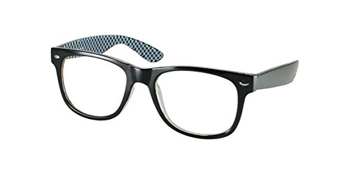 DESIGNER Black White Checkered Geek Clear Lens GLASSES retro wayfarer - Checkered White And Sunglasses Black