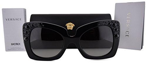 Glasses Lady In Gaga Red (Versace VE4308B Sunglasses Black w/Gray Gradient Lens GB111 VE4308 For)