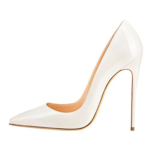 Blanc Lutalica Robe Toe Femmes Stiletto Escarpins Fête Haut Patent Pointu Verni Chaussures Mariage Talon rqwr6O