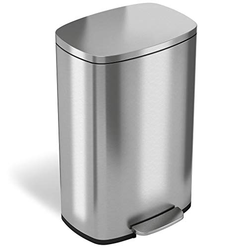 iTouchless SoftStep 13.2 Gallon Stainless Steel Step Trash Can with Odor Control System, 50 Liter Pedal Garbage Bin for Kitchen, Office, Home - Silent and Gentle Open and ()