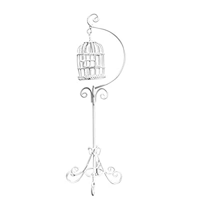 Anniston Dollhouse Furniture, Miniature 1:12 Metal Bird Cage Floor Stand Pretend Play Toy Dollhouse Decoration House Playset Set for Toddlers Girls and Boys, White: Toys & Games