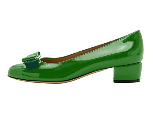 Guoar Mujeres Cerrado Dedo Del Pie Talones Bloque Bowknot Bombas Zapatos Bajos Talones Para El Vestido Party Green Patent