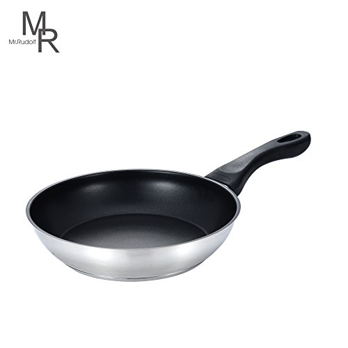 18/8 Stainless Steel Collection (Mr. Rudolf 8-inch Nonstick 18/10 Stainless Steel Omelet Pan Frying Pan Omelets Skillet Dishwasher Safe APEO& PFOA Free)