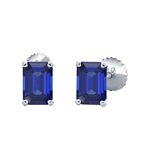 (9X11MM) Emerald Cut Created Blue Sapphire Solitaire Stud Earrings 14K White Gold Over .925 Sterling Silver For Women's