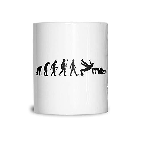 Wrestling Tea Cup Mug The Evolution of Wrestling White 11OZ]()