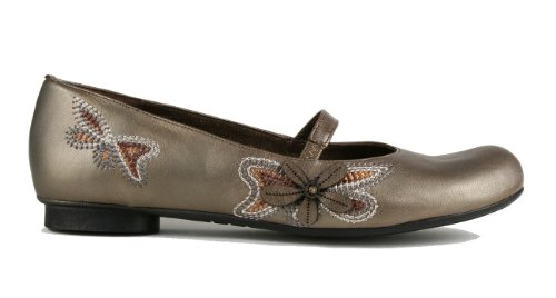 Tatami Marisol Mary Jane Kvinna Platt Sko, Läder Med Naturkork Komfort Innersula Frostat Mandel / Guld