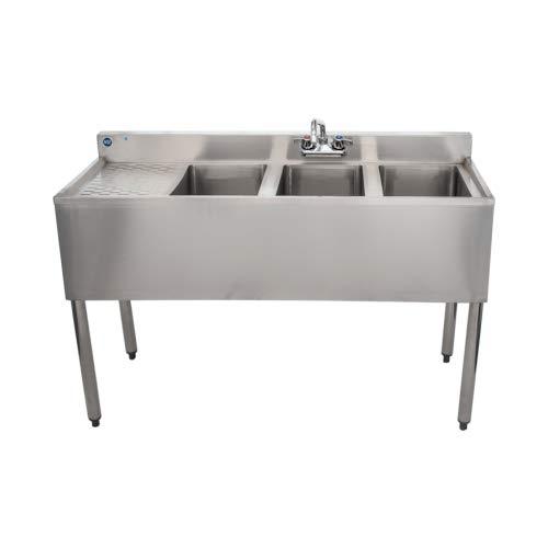 Compartment Underbar Sink - Stainless Steel Commercial Three Compartment Under Bar Sink 19 x 48 with Left Drianboard