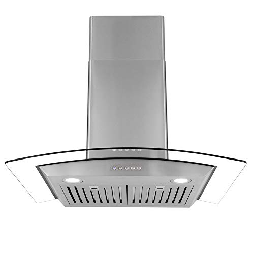 Cosmo 668A750 30-in Wall-Mount Range Hood 760-CFM | Ducted/Ductless Convertible Duct, Glass Chimney Kitchen Stove Vent with LED Light, 3 Speed Exhaust Fan, Permanent Filter (Stainless Steel)