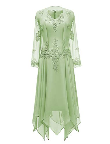 tutu.vivi V-Neck Chiffon Tea Length Mother of The Bride Dress Long Sleeves Lace Formal Evening Gowns with Jacket Sage Green Size14