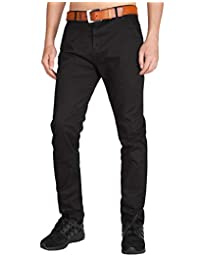 ITALY MORN Men's Flat Front Chino Pants Casual Slim Fit Business Wear