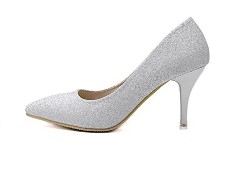 LDMB Pointure Toe Court Chaussures minces avec High-Heeled Flashing Powder Single Shoes , silver , 39