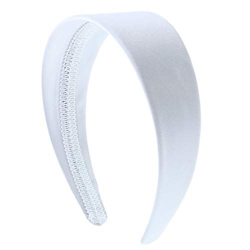 White 2 Inch Wide Satin Hard Headband with No Teeth Head band for Women and Girls (Motique - Satin Headband White