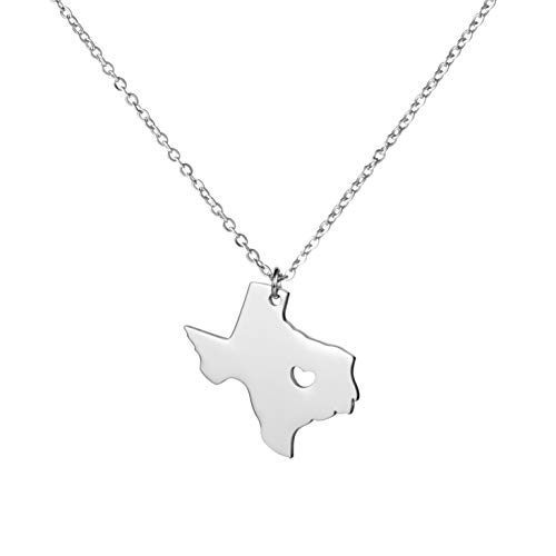 Yiyangjewelry Texas State Necklace Charm Pendant Gift for Family Friends Country Map TX