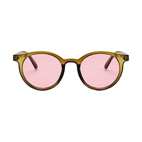 Retro Marco Sunglasses Hombres Verde Mujer Sol Gafas Redondas de Rojo Eyewear Unisex LINNUO Colores BqwYX7nS4Y