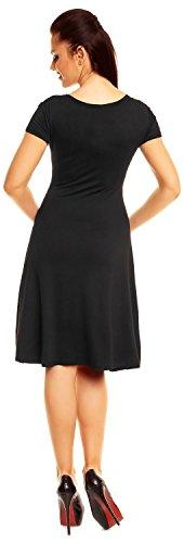 Zeta Ville - De Las Mujeres - Envolver V-cuello Llamarada Verano Vestido - Corto Mangas - 108z Negro