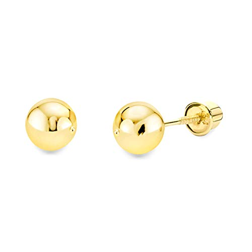 14k Yellow Gold 5mm Ball Stud Earrings with ()