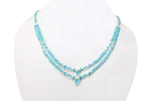 - Natural Blue Apatite Beads Necklace with Sterling Silver Findings by Anushruti 16