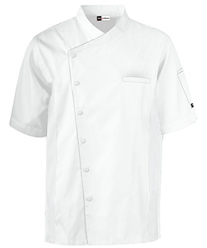 Men's Short Sleeve Chef Coat with Mesh Sides (XS-3X, 2 Colors) (Large, White) by ChefUniforms.com (Image #5)