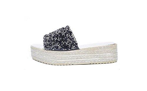 Alla leisure scarpe pendio acqua pan spessa AJUNR spagna pantofole 38 nero Da Sandali Donna Moda 5 e trapani rilasciare di 41 trascinare a cm wq8tqB