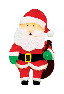 Product Works 32-Inch Pre-Lit Candy Cane Lane Santa Claus Christmas Yard ()