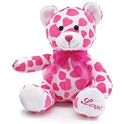 """Hearts All Over Bear 8"""" Animal Plush- Pink & White"""