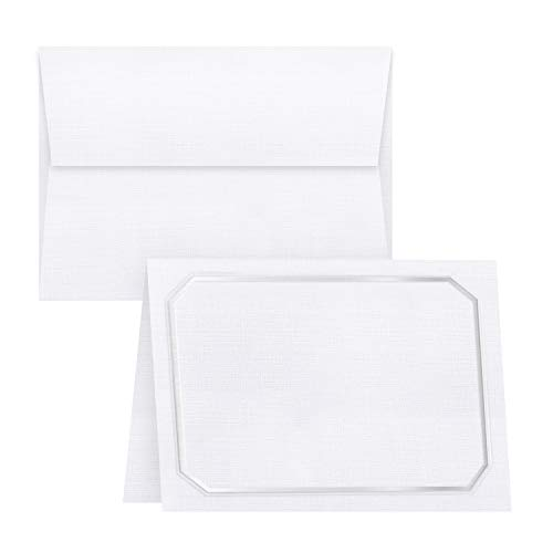 - White Linen Blank Fold Over Greeting Cards with Silver Embossed Border and White Linen Envelopes | 5x7 Inches When Folded | 80lb, 216gsm | 20 Cards and 20 Envelopes per Pack