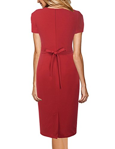 Mujer 50s de manga corta bot¨®n abajo Peplum Stretchy vestido de l¨¢piz de negocio Rojo