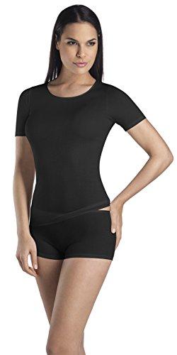 HANRO Women's Short-Sleeve Round-Neck Top, Black, -