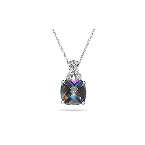 Diamond & 2.12 Ct Mystic Fire Topaz Filigree Pendant in 14K White (Fire Topaz 14k Gold Pendant)