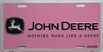 Amazon.com: john deere placa de licencia con rosa nada corre ...