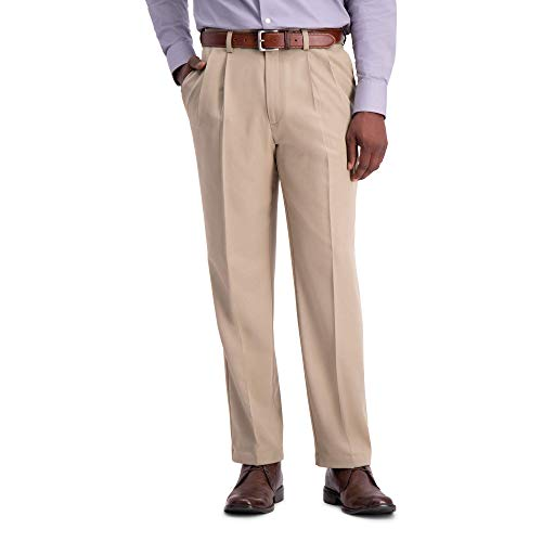 Haggar Men's Cool 18 Pro Classic Fit Pleat Front Expandable Waist Pant, tan, 36Wx28L ()