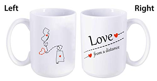 Love From A Distance New Jersey State, Alabama State (NJ - AL) - Mother's Day, Birthday, Anniversary Gift Ideas For Family, Him, Her. Two State Map Mug 15 oz