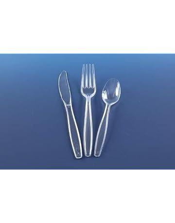 150 cubiertos de plástico transparente reutilizables (50 tenedores, cuchillos, cucharas)