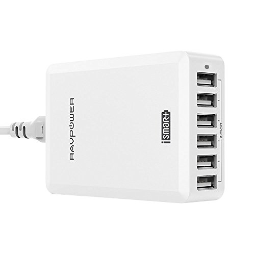 RAVPower 60W 12A 6-Port USB Charger Desktop Charging Station with iSmart Technology (White)