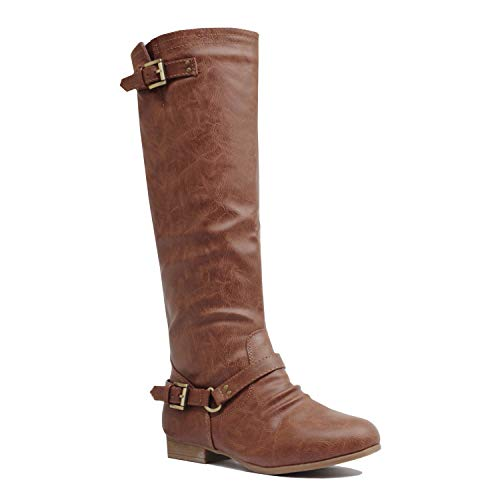 - Guilty Heart | Womens Comfortable Low Heel Western Riding Buckle Knee High Boot Boots (7 B(M) US, Tanv1 Pu)