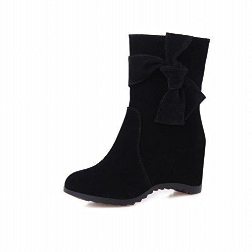 Latasa Mujeres Fashion Suede Bow Botas De Vestido Corto De Tacón Medio, Pull On Slouch Botas Black