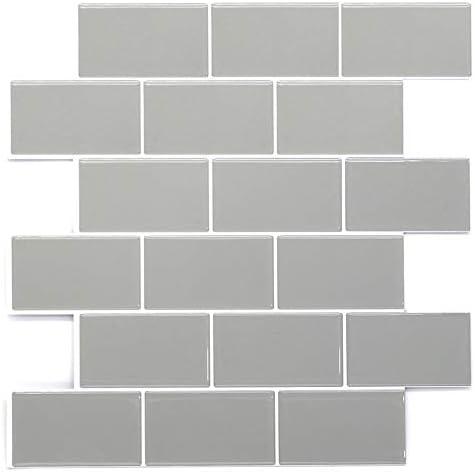 Stickgoo Subway Tiles Peel And Stick Backsplash Stick On Tiles Kitchen Backsplash In Light Grey Pack Of 10 Thicker Design Tiles Amazon Canada