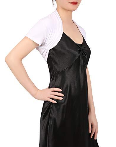 HDE Short Sleeve Bolero Jacket Shrug for Women S-4X Open Front Light Layering (White, Large)
