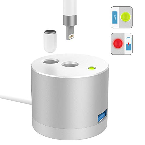 MoKo [LED Charge Indicator] Charging Stand Compatible with Apple Pencil 1st Gen, Aluminum Charger Dock Pencil Holder Fit iPad Pro 12.9 10.5 9.7 / iPad Air 3 / mini 5 2019 Pen (Built-in Charging Cable)
