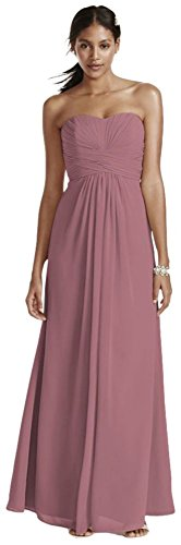 David's Bridal Long Strapless Chiffon Bridesmaid Dress and Pleated Bodice Style F15555.