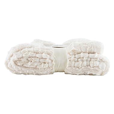 Longrich Embossed Faux-Fur Reversible Sherpa Throw Blanket, Ivory