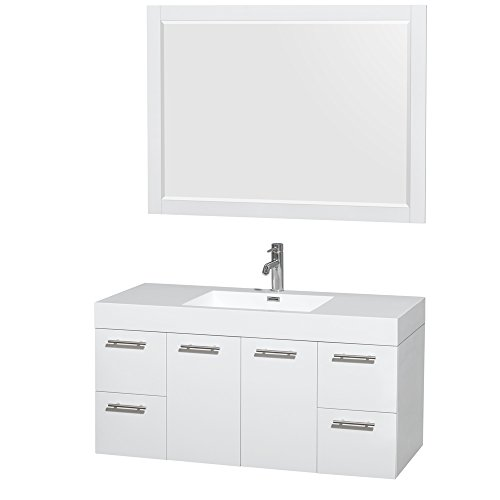 (Wyndham Collection Amare 48 inch Single Bathroom Vanity in Glossy White, Acrylic Resin Countertop, Integrated Sink, and 46 inch Mirror)